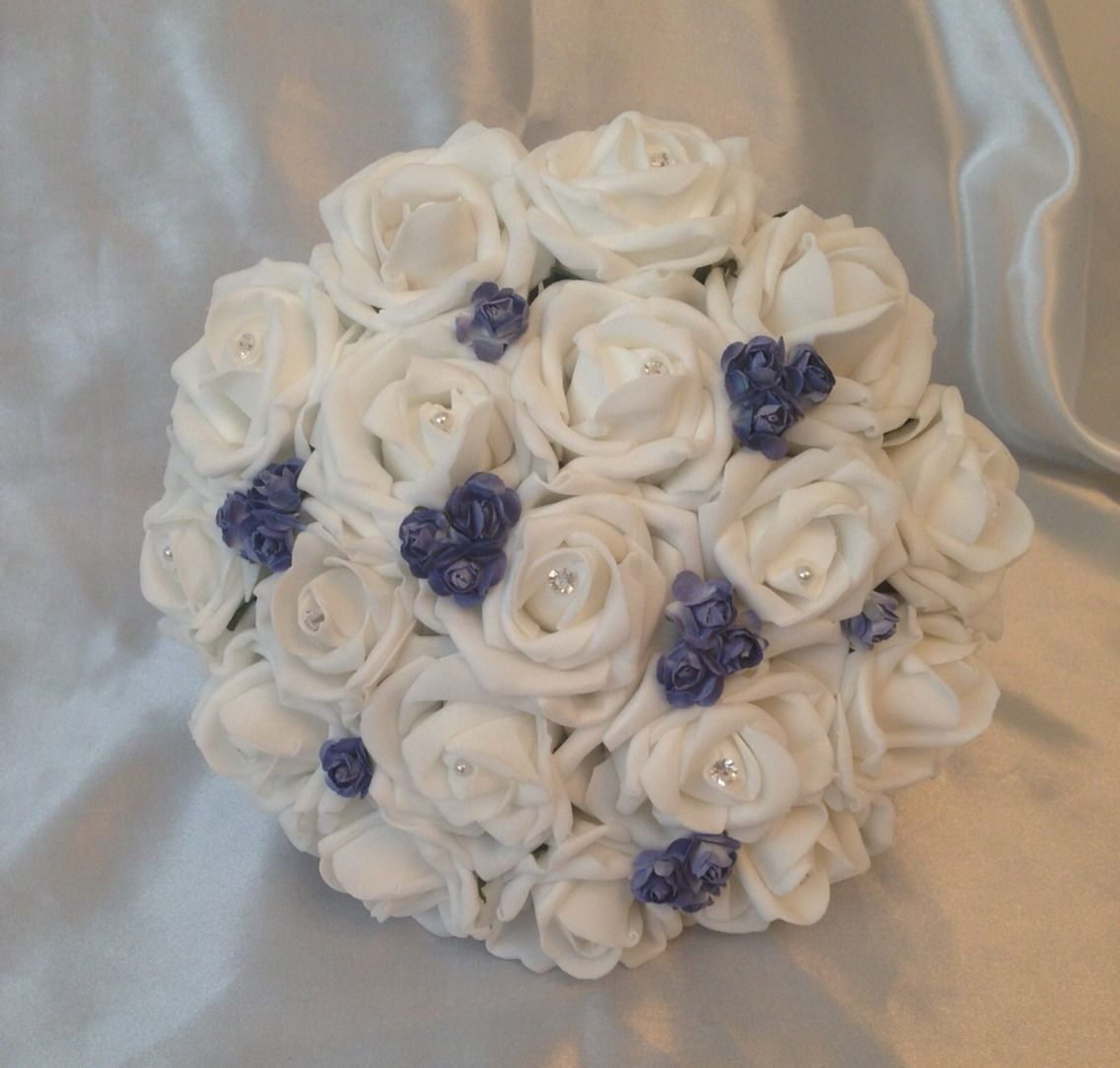 ARTIFICIAL WHITE ROYAL BLUE FOAM ROSE WEDDING FLOWERS BOUQUET BRIDESMAID